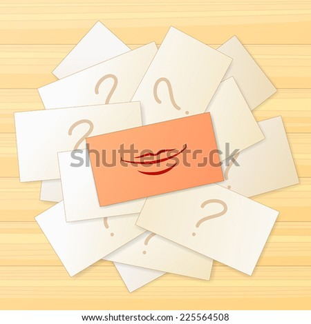 Pile of cards with question sign and one card with smile sign - stock vector