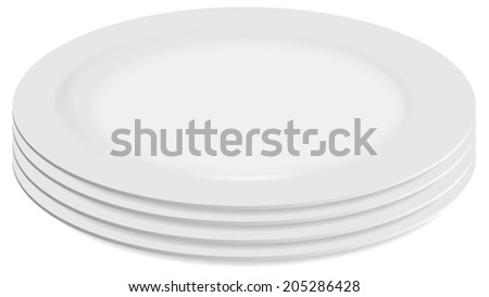 Pile of clean white plates vector isolated - stock vector