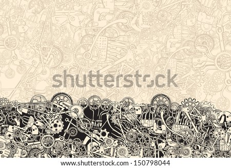 Pile of Cogs. Background texture. Hand drawing. - stock vector