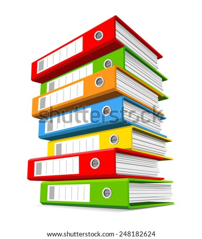 Pile of colorful binders isolated on a white background. Concept of office supply, information classification. Vector illustration.  - stock vector