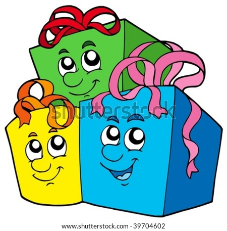Pile of cute gifts - vector illustration.