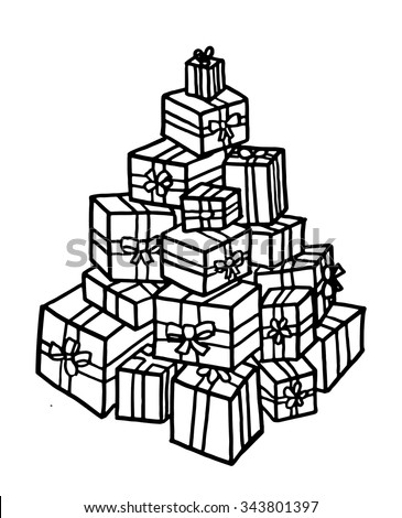 Pile of gifts intricate hand drawn coloring page illustration. Black and white zentangle