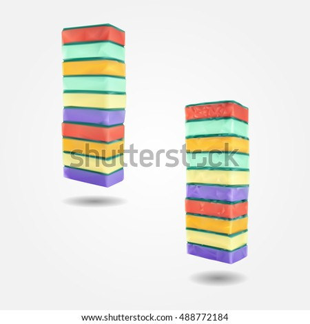 Pile of kitchen colorful sponges composition low and high resolution triangle mesh realistic vector eps10