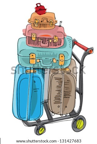 pile of luggage - cartoon