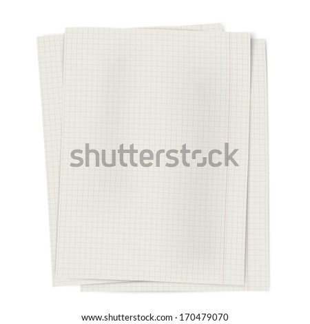 Pile of notebook squared sheets of paper isolated on white background - stock vector