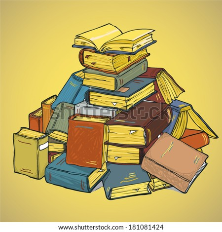 Pile Of Old Book - stock vector