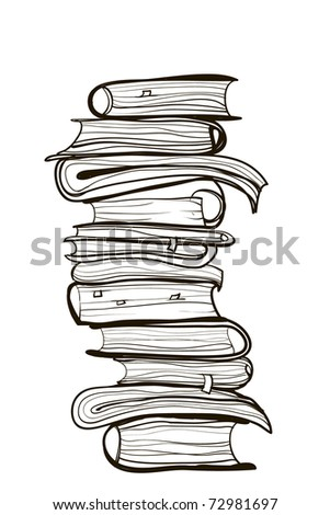 Pile of old books. A children's sketch. cartoon books - stock vector