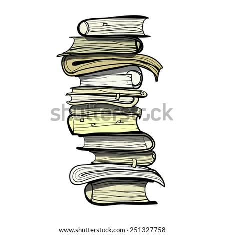 Pile Old Books Childrens Sketch Cartoon Stock Vector