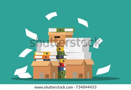 Pile of paper documents and file folders. Carton boxes. Bureaucracy, paperwork, office. Vector illustration in flat style