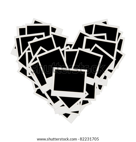 Pile of photos, heart shape, insert your pictures into frames - stock vector