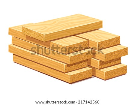 Pile of rasped wooden timber planks for building construction or floring. Eps10 vector illustration. Isolated on white background - stock vector