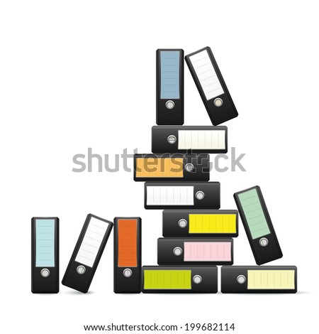 Pile of ring binders. Ring binders with colored labels piled up AI10 eps vector illustration. - stock vector