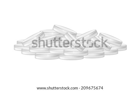 Pile of silver coins - stock vector