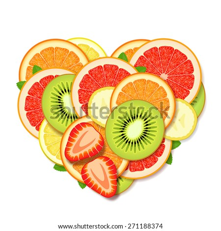 Pile of sliced fresh fruits and berries,stacked in heart form - stock vector