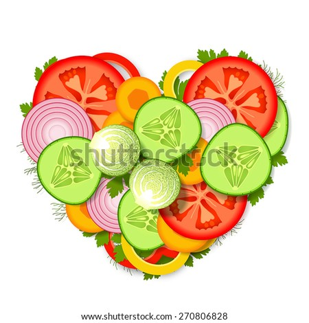 Pile of sliced fresh vegetables and greens, stacked in heart form - stock vector