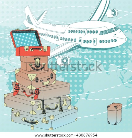 Pile of suitcases and white airplane - stock vector