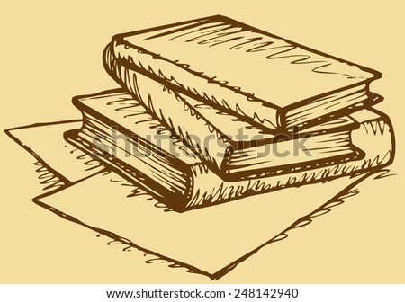 Pile of thick handbooks lying on scattered sheets of paper. Vector monochrome freehand sketchy ink outline drawn background in engraving style with space for text - stock vector