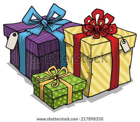 Pile of tree beautifully wrapped,colorful gift boxes, vector illustration - stock vector