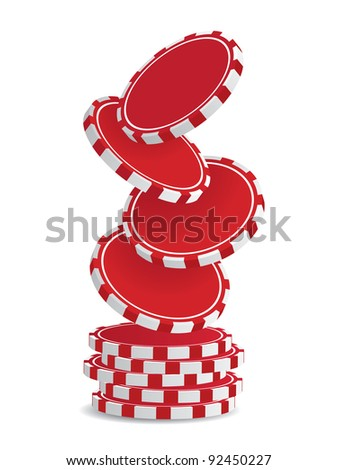 Pile of vector red casino chips isolated on white