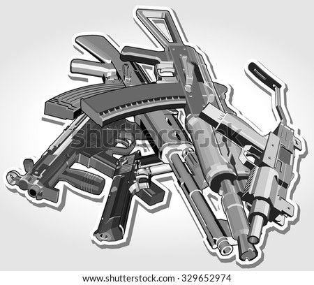 pile of weapons. vector illustration - stock vector