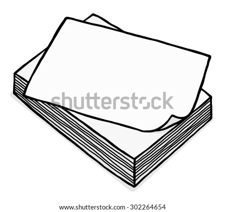 pile of white paper / cartoon vector and illustration, grayscale, hand drawn style, isolated on white background. - stock vector