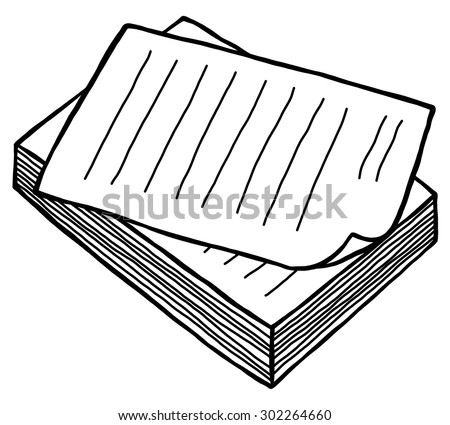 pile of work paper / cartoon vector and illustration, black and white, hand drawn, sketch style, isolated on white background. - stock vector