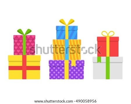 Pile stack colorful gift present boxes stock vector hd royalty free pile stack colorful gift or present boxes with ribbon and bow vector set isolated on white negle Image collections