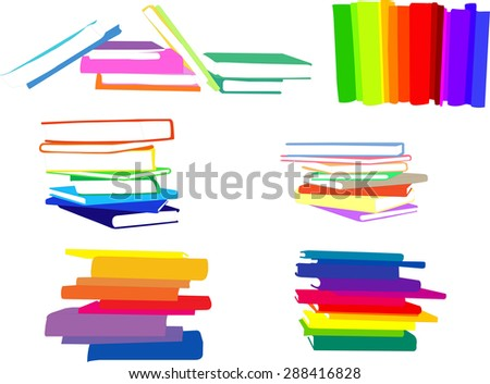 piles of books collection - vector - stock vector