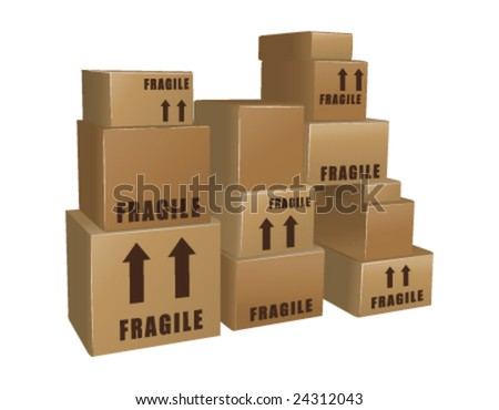 Piles of cardboard boxes vector - stock vector