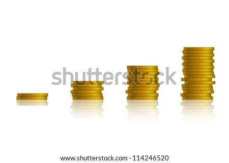 Piles of coins forming a growing graph, isolated on white. EPS10 vector.