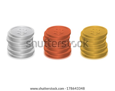 Piles of coins isolated on white background - stock vector