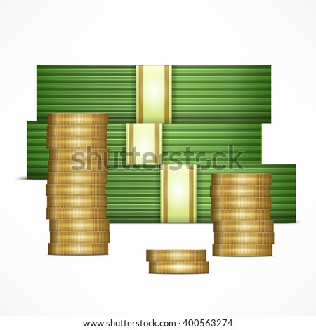 Piles of money stack. Cash dollar and gold coins. Vector illustration - stock vector