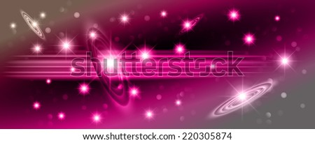 Pilk sparkling background with stars in the sky and blurry lights, illustration. Abstract, Universe, Galaxies. - stock vector