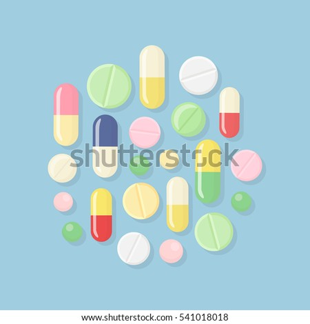 Pill and tablets, medicine isolated on background. Heap of capsules, drug. Healthcare. Medical vector illustration. Flat style