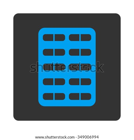 Pill Blister vector icon. Style is flat rounded square button, blue and gray colors, white background.