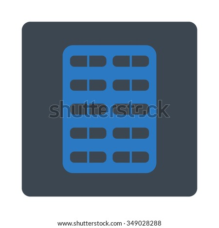 Pill Blister vector icon. Style is flat rounded square button, smooth blue colors, white background.