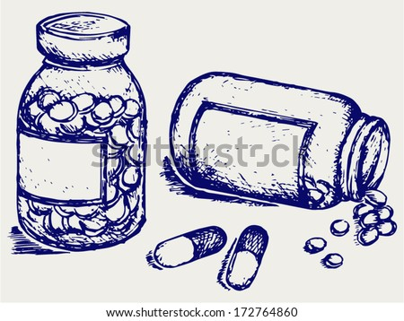 Pill bottle. Spilling pills on to surface. Doodle style - stock vector