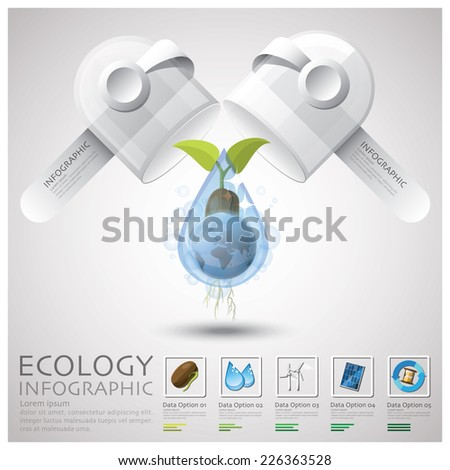 Pill Capsule Global Ecology And Environment Infographic Design Template - stock vector