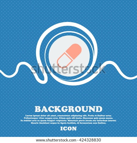 pill icon sign. Blue and white abstract background flecked with space for text and your design. Vector illustration - stock vector