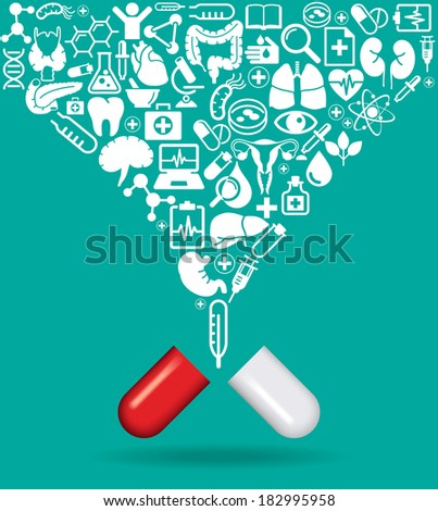Pill with icons of human anatomy and medicine. The concept of modern medicine. The file is saved in the version AI10 EPS. This image contains transparency. - stock vector
