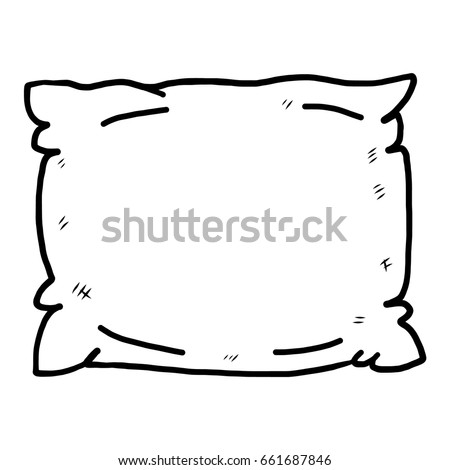 Pillow Cartoon Vector And Illustration Black White Hand Drawn Sketch Style