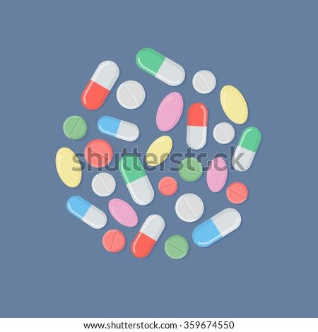Pills and tablets. Heap of tablets, capsules and pills. Medical tablets, pills and capsules. Colored pills and tablets. Different medications.  - stock vector