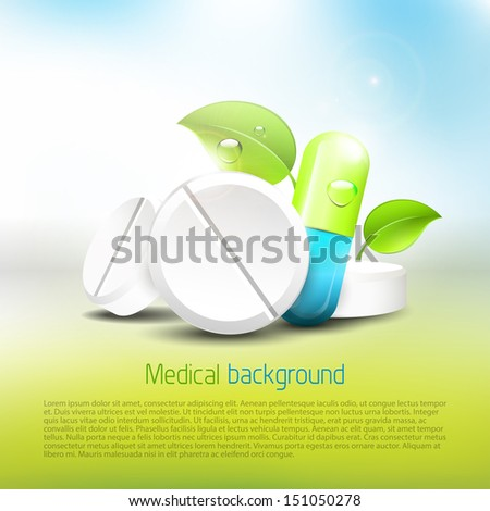 Pills and tablets with leaves on blue background - health concept  - stock vector