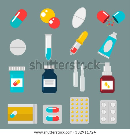 Pills capsules icons vector flat set