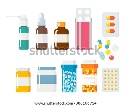 Pills capsules icons vector flat set. Medical vitamin pharmacy vector illustration.