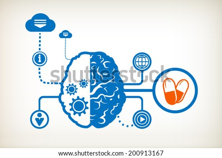 Pills health and abstract human brain, the concept of the information movement