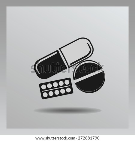 Pills icon in the air with shadow. With set of health (pills) icons - stock vector