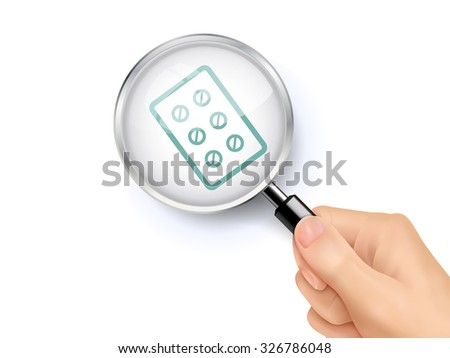 pills icon showing through magnifying glass held by hand  - stock vector
