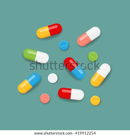 Pills icons in various colors. Vector illustration