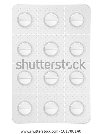 Pills in blister pack, vector eps10 illustration